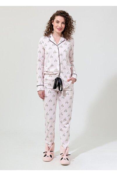 Dagi Kadın Pudra Panda Empirme Gömlek Uzun Kol Pijama Takımı