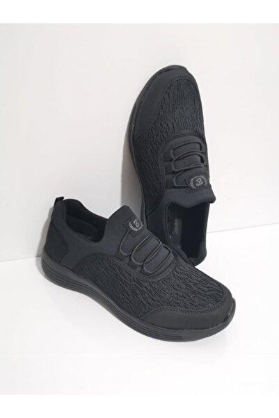 GEZER Ortopedik Aqua Ipli Lastikli Günlük Kadın Spor Ayakkabı Sneaker Fileli Siyah