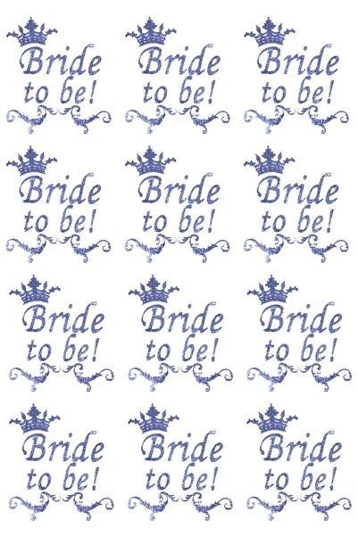 Kullan At Market Bride To Be Kraliçe Taç Dövme Gümüş 12'li