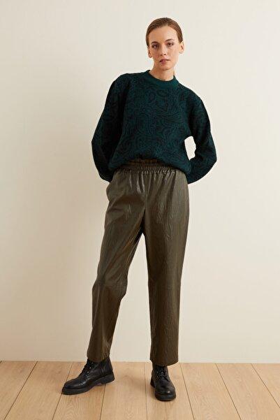 adL Kadın Yeşil Beli Lastikli Bol Deri Pantolon