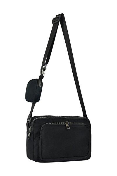 ByKdr Shop Unisex Siyah İnci Mini 3 Fermuarlı Ayarlanabilir Omuz Çantası