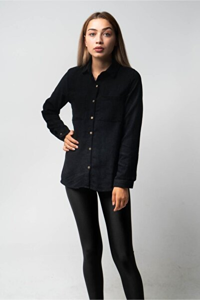 CNS Kadın Siyah 2 Cepli Kadife Gömlek