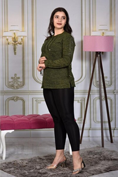 Canseven Fashion Kadın Yeşil Bluz