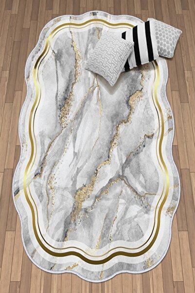 colizon Dekoratif Yıkanabilir Kaymaz Deri Tabanlı Lazer Kesim Salon Halısı