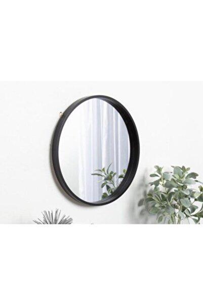 Otto Siyah Yuvarlak Çerçeveli Dekoratif Ayna 70 cm