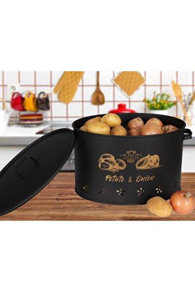 HAMİDİYE AMBALAJ 2 Bölmeli Metal Patates Soğan Kovası Siyah 18 Lt