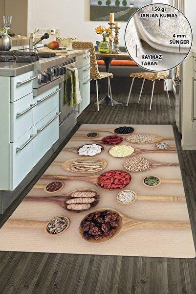 colizon Dekoratif Yıkanabilir Kaymaz Tabanlı Mutfak Halısı Kd-2449