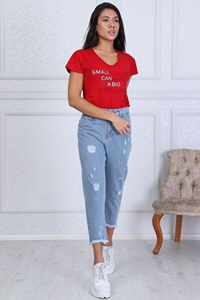 Modaca Kadın  Açık Mavi Mom Style Lazer Detay Jean
