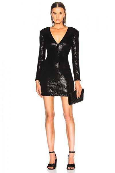By Umut Design Kadın Siyah Payet Derin V Yaka Vatkalı Elbise 1118890