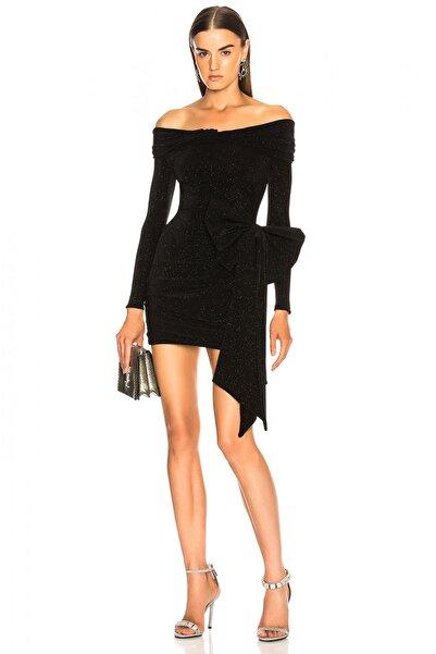 By Umut Design Kadın Siyah Düşük Omuz Kendinden Simli Elbise 2714617