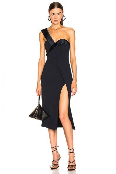 By Umut Design Kadın Siyah Straplez Tek Askılı Yırtmaçlı Elbise 4537982