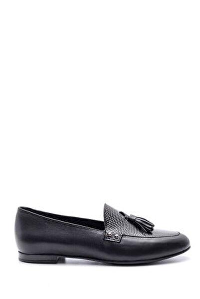 Kadın Siyah Klasik Deri Loafer