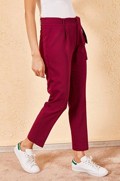 Zafoni Kadın Mor Bel Kuşaklı Klasik Pantolon