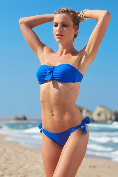 No Gossip Kadın Aksesuarlı Soft Straplez Bikini Üst 209102 Sax