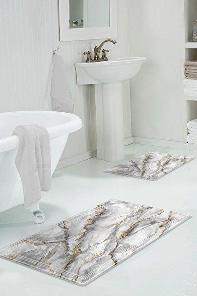 colizon 60x90 - 50x60 Sis Dijital Banyo Halısı Klozet Takımı 2'li Paspas Seti