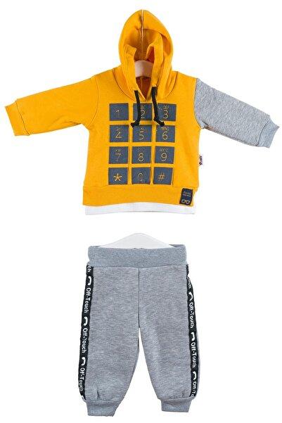 Y-London Sarı Gri Erkek Bebek Sweatshirt Pantolon 2Li Eşofman Takımı