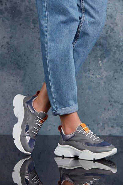 DARK SEER Kadın Füme Hakiki Deri Sneaker