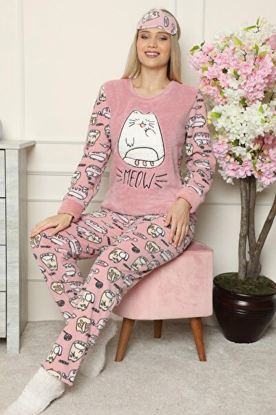 Pijamaevi Pembe Big Cat Desenli Kadın Peluş Pijama Takımı
