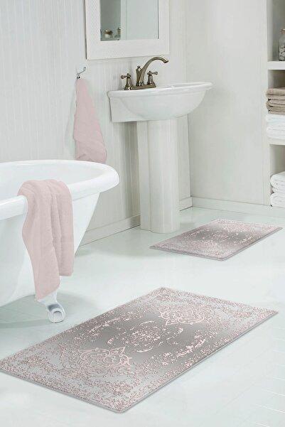 colizon 60x90 - 50x60 Alpha Pink Dijital Banyo Halısı Klozet Takımı 2'li Paspas Seti