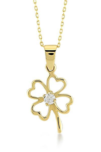 Gelin Pırlanta Gelin Diamond 14 Ayar Altın Zirkon Taşlı Kalpli Yonca Kolye