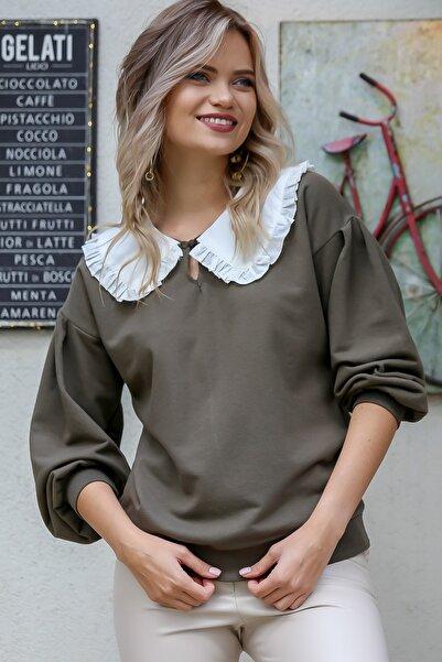 Chiccy Kadın Haki Dev Fırfır Detaylı Dokuma Bebe Yaka Bel Ve Kolları Ribanalı Bluz M10010200BL95770