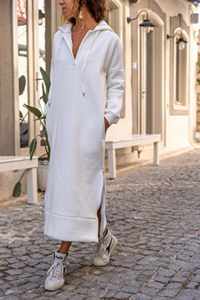 Güneşkızı Kadın Ekru Kapüşonlu Fermuarlı İçi Polar Oversize Sweat Elbise GK-TD1985