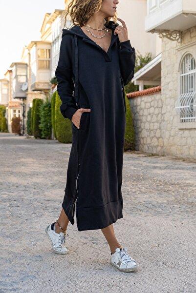 Güneşkızı Kadın Siyah Kapüşonlu Fermuarlı İçi Polar Oversize Sweat Elbise GK-TD1985