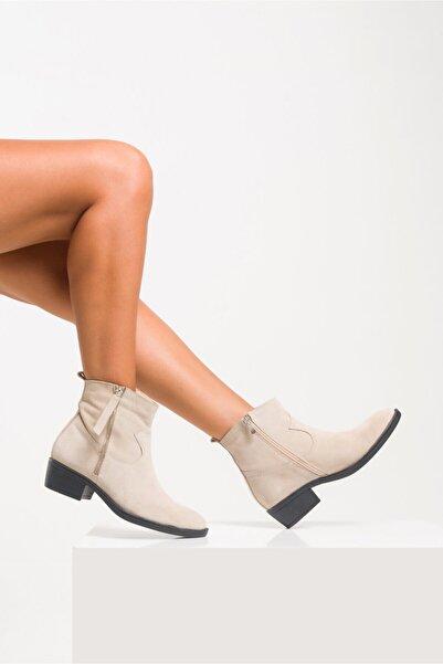 Ataköy Ayakkabı Kadın Deri Bej Süet Kovboy Bot