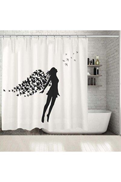 Henge Home Baskılı Duş Perde Kanatlı Melek Desenli Kuşlu Siyah Beyaz Gri