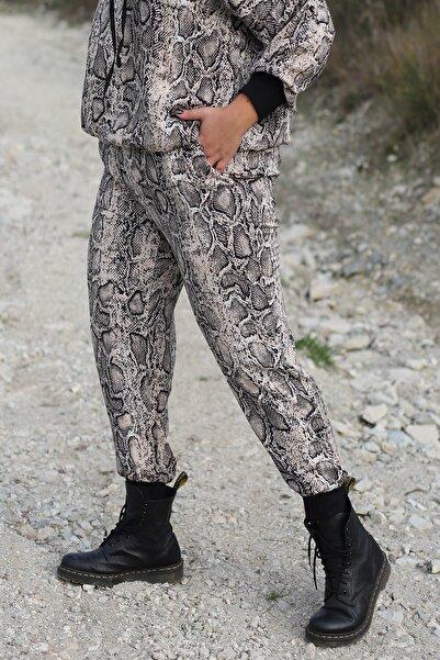Curly Kadın Kahverengi Yılan Desenli Büyük Beden Pantolon