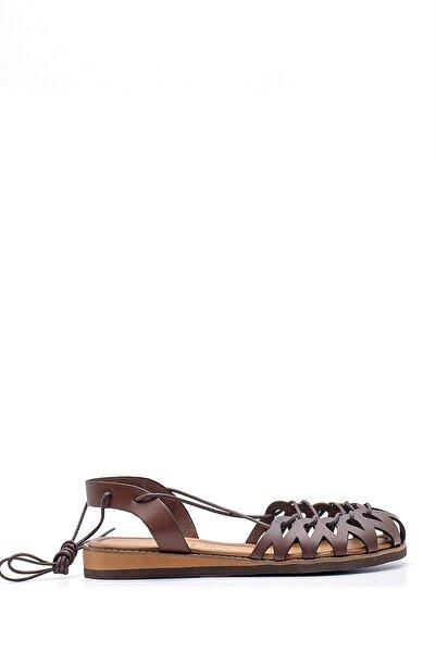 Derimod Kadın Kahverengi Deri Ip Detaylı Sandalet