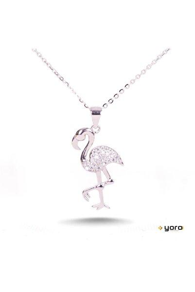 YORO GÜMÜŞ Gümüş Micro Zirkon Taşlı,flamingo Hayalet Kolye