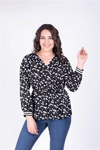 MYLİNE Kadın Siyah Beli Lastikli Kruvaze Çiçekli Bluz 34155