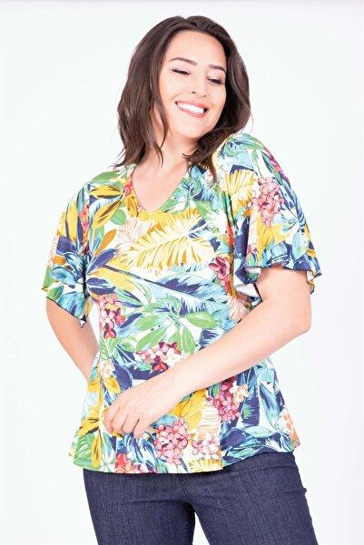 MYLİNE Kadın Çok Renkli Pelerin Kollu Bluz 34732