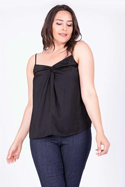 MYLİNE Kadın Siyah Düğüm Detaylı İp Askılı Bluz 34803