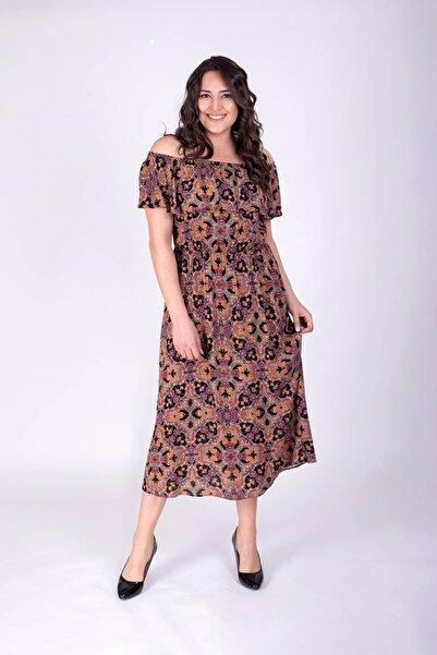 MYLİNE Kadın Çok Renkli Düşük Omuzlu Volanlı Elbise 34396