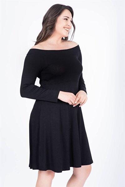 MYLİNE Kadın Siyah Uzun Kol Penye Elbise 34450