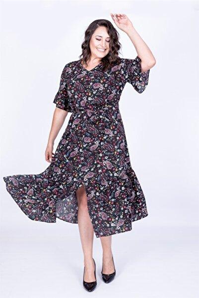 MYLİNE Kadın Siyah Yarım Kol Fırfır Detaylı Elbise 35026