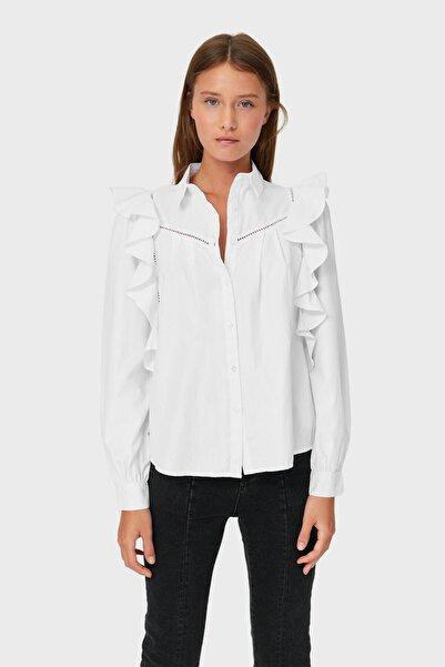 Stradivarius Kadın Beyaz Volanlı Gömlek 02197602
