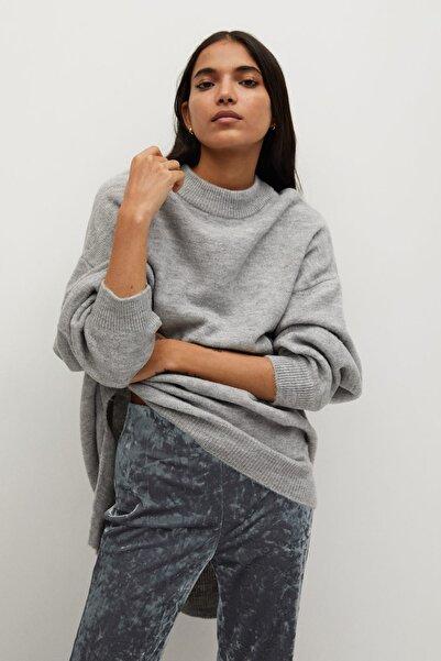 MANGO Woman Kadın Gümüş Rengi İspanyol Paçalı Kadife Pantolon 87060532