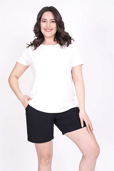 MYLİNE Kadın Beyaz Karmen Yakalı Tişört
