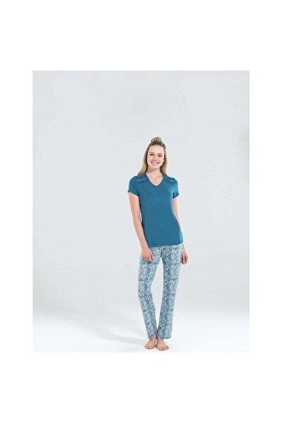 Blackspade 50146 Kadın Lacivert Kısa Kol Pijama Takımı