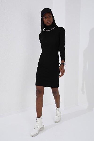 Tommy Life Balıkçı Yaka Siyah Kadın Kaşkorse Elbise