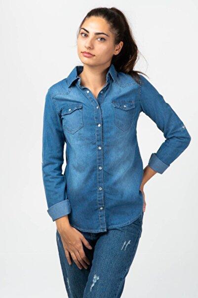 CNS Kadın Mavi Kot Gömlek