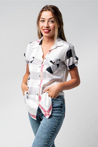 CNS Kadın Beyaz Kareli Gömlek
