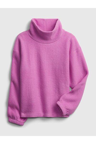 GAP Kadın Mor Balıkçı Yaka Polar Sweatshirt
