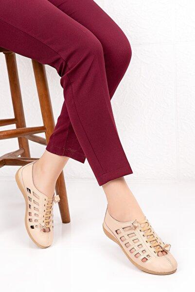 Gondol Kadın Bej Hakiki Deri Anatomik Taban Günlük Ayakkabı