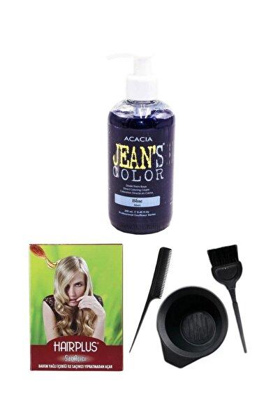 Acacia Saç Boyası Mavi 250ml Saç Açıcı Ve Fluweel Saç Boya Kabı Seti