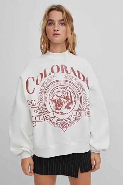 Bershka Sloganlı Sweatshirt