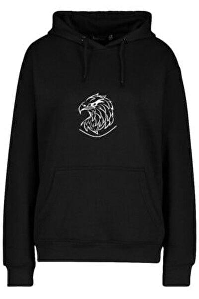 Unisex Siyah Eagle Head Baskılı Kapüşonlu Sweatshirt